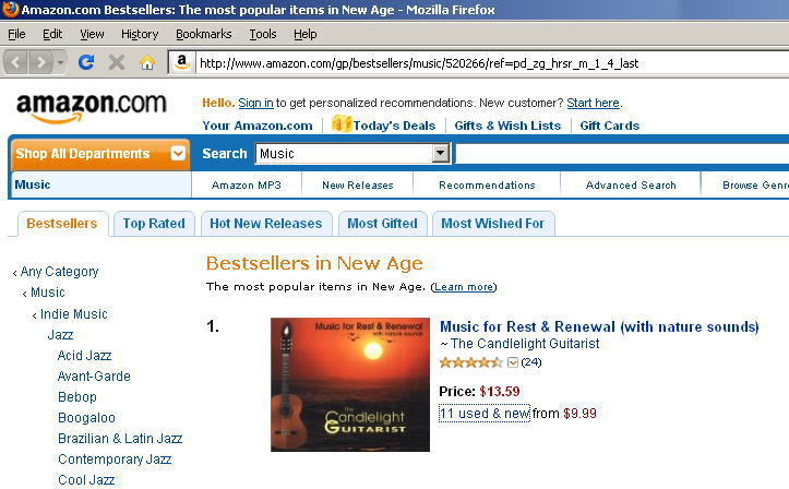 buy CD or download The Candlelight Guitarist - Music for Rest and Renewal at Amazon.com